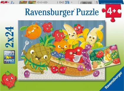 Ravensburger Kinderpuzzle - Freche Früchte - 2x24 Teile Puzzle für Kinder ab 4 Jahren
