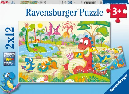 Ravensburger Kinderpuzzle - Lieblingsdinos- 2x12 Teile Puzzle für Kinder ab 3 Jahren