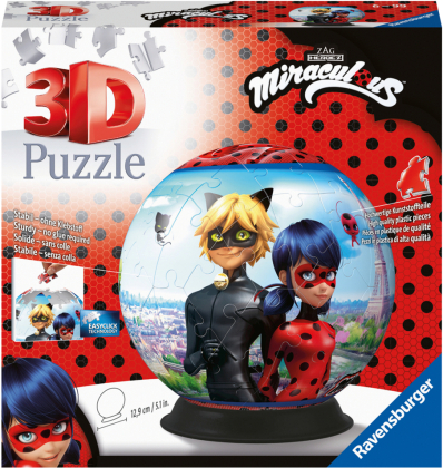 Ravensburger 3D Puzzle 11167 - Puzzle-Ball Miraculous - 72 Teile - Puzzle-Ball für Erwachsene und Kinder ab 6 Jahren