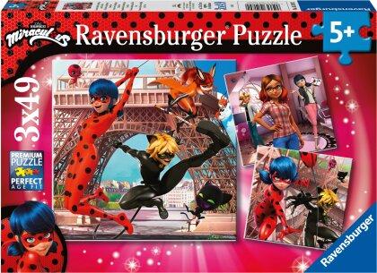 Ravensburger Kinderpuzzle 05189 - Unsere Helden Ladybug und Cat Noir - 3x49 Teile Miraculous Puzzle für Kinder ab 5 Jahren