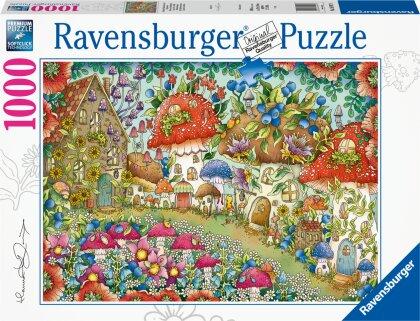 Ravensburger Puzzle - Niedliche Pilzhäuschen in der Blumenwiese - 1000 Teile