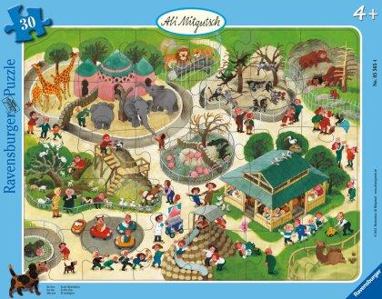 Ravensburger Kinderpuzzle - Ali Mitgutsch: Im Zoo - 30-48 Teile Rahmenpuzzle für Kinder ab 4 Jahren