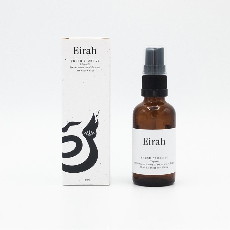 Eirah Cannabis Massage-Körperöl Fresh Sportive (CBD: 250mg THC: <0.2%) - 50ml