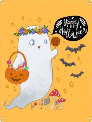 Halloween Ghost - Mini Tin Sign