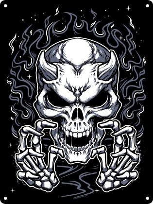 Skeleton Devil Fire - Mini Tin Sign
