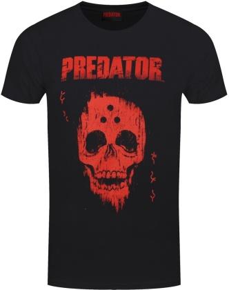 Predator Red Distressed Skull - Men's Black T-Shirt