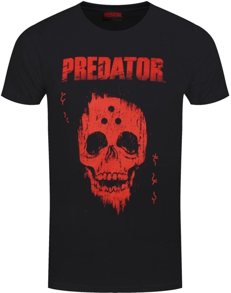 Predator Red Distressed Skull - Men's Black T-Shirt - Grösse M