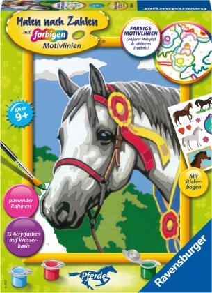 Ravensburger Malen nach Zahlen 20063 - Stolzes Turnierpferd – Kinder ab 9 Jahren