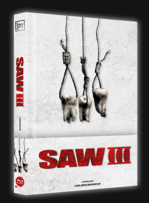 Saw 3 (2006) (Wattiert, Cover A, Director's Cut, Limited Edition, Mediabook, Blu-ray + DVD)